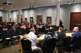 3 nov. 2018 - Table ronde sur le patrimoine culinaire, dans une salle de la Historic New Orleans Collection : John Lafleur, Ibrahima Seck et Poppy Tooker.