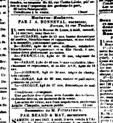 Image 1 : Annonce d'un encan d'esclaves dans L'Abeille de la Nouvelle-Orléans. Parue le même jour que la première partie du feuilleton de Séligny.