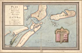 Image 3 : Plan of the entrance of Barataria, with a projected battery proposed by Col. G.T. Ross, carte de G. T. Ross, 1812. À cette époque les Baratariens étaient installés sur la Grande-Île et l'île de Grand'-Terre. Provenance : Library of Congress, Geography and Map Division, www.loc.gov/item/2002624016/